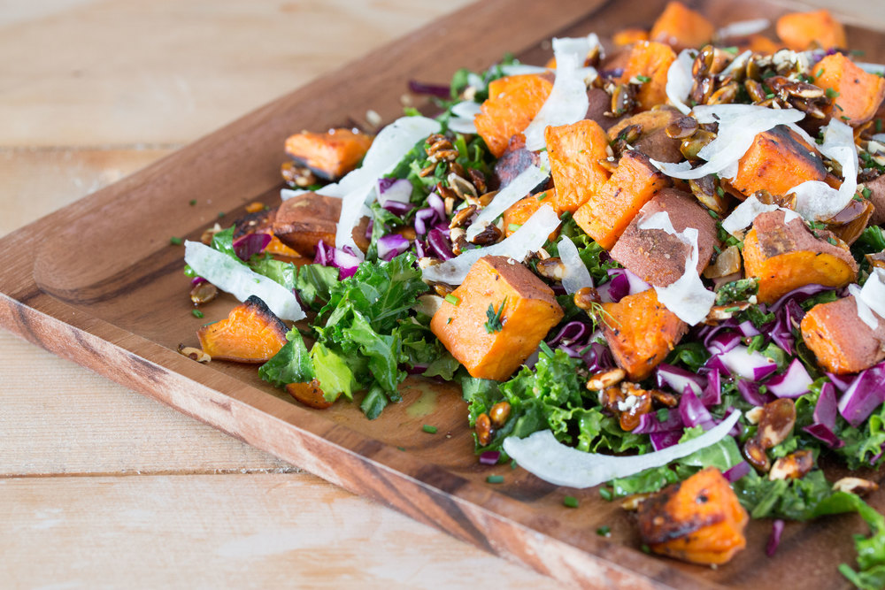 roasted sweet potato kale salad with mustard dill vinaigrette #salads #veganrecipes #vegan | RECIPE on hotforfoodblog.com