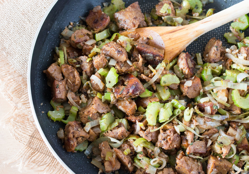 sautéed fieldroast sausage, leek, celery, onion, and nutmeg for savoury quinoa stuffing #vegan #thanksgivingrecipes | RECIPE on hotforfoodblog.com