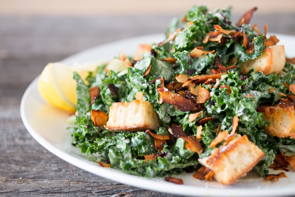 vegan kale caesar salad with #coconutbacon | RECIPE on hotforfoodblog ...