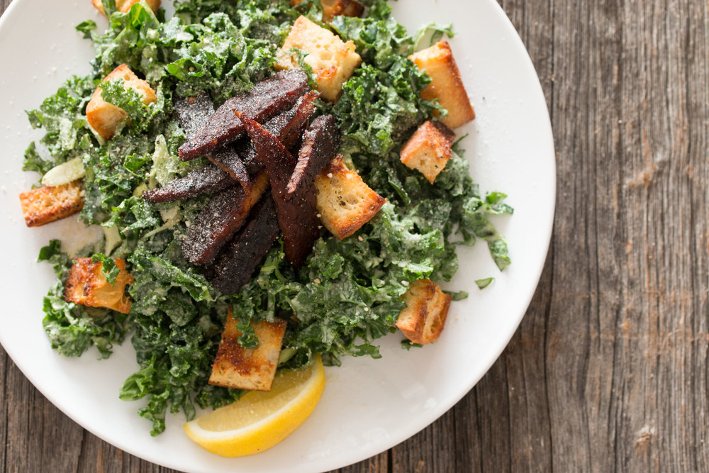 vegan kale caesar salad with tempeh bacon | RECIPE on hotforfoodblog ...