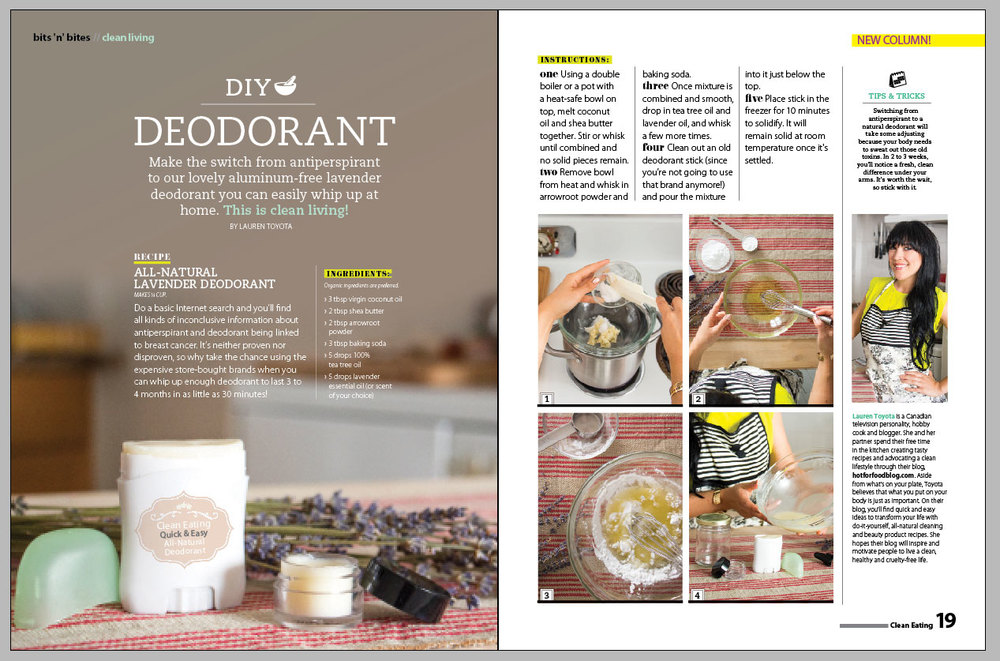 DIY Deodorant in Clean Eating Sept 2014 | hotforfoodblog.com