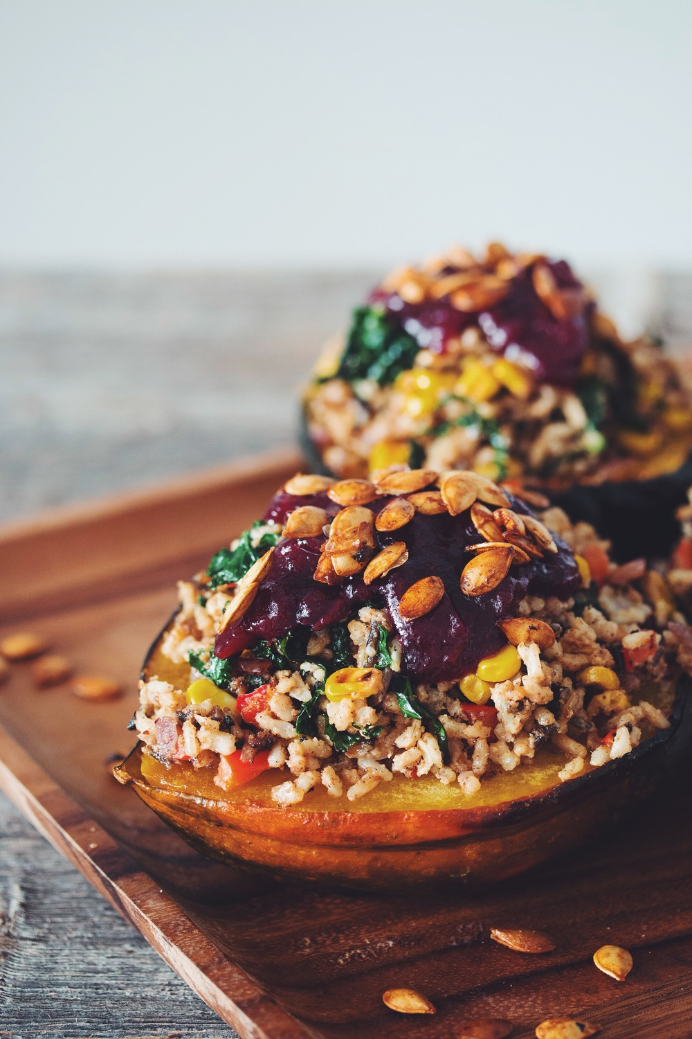 stuffed acorn squash & red wine cranberry sauce_hot for food