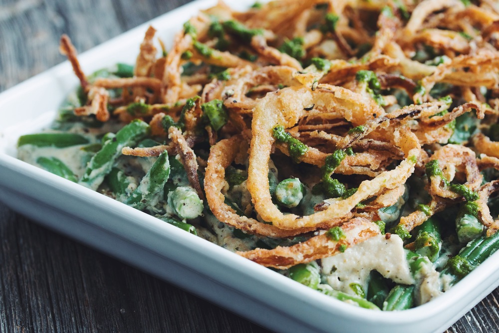 green beat casserole with crispy pesto onions_hot for food