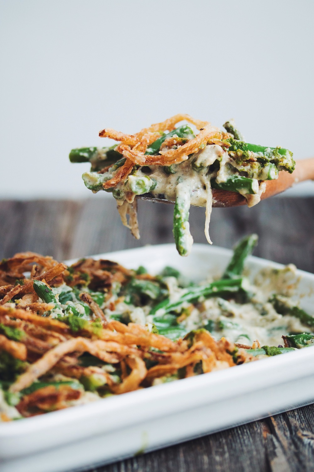 #vegan #glutenfree green bean casserole with cripsy pesto onions | RECIPE on hotforfoodblog.com