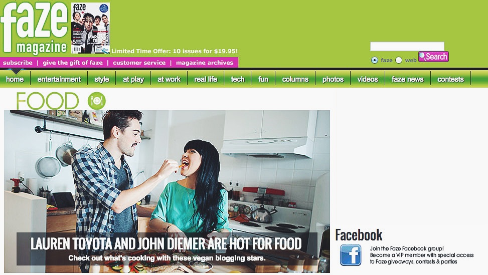 faze magazine features hot for food blog for world vegan month