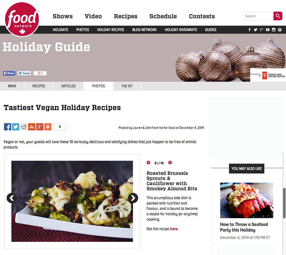 10 vegan recipes for the holidays by hot for food blog featured on foodnetwork.ca