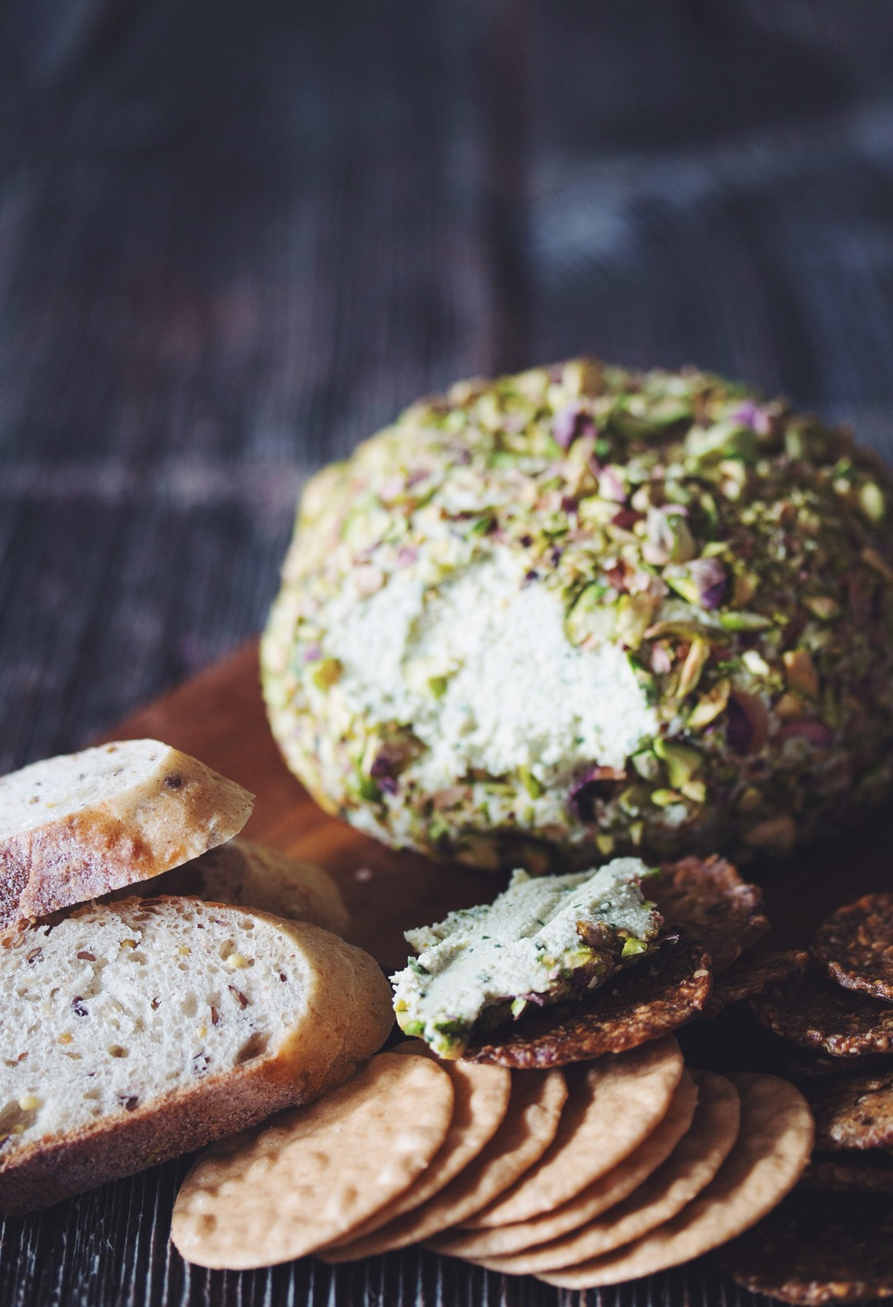 vegan pistachio crusted cashew cheeseball by hot for food