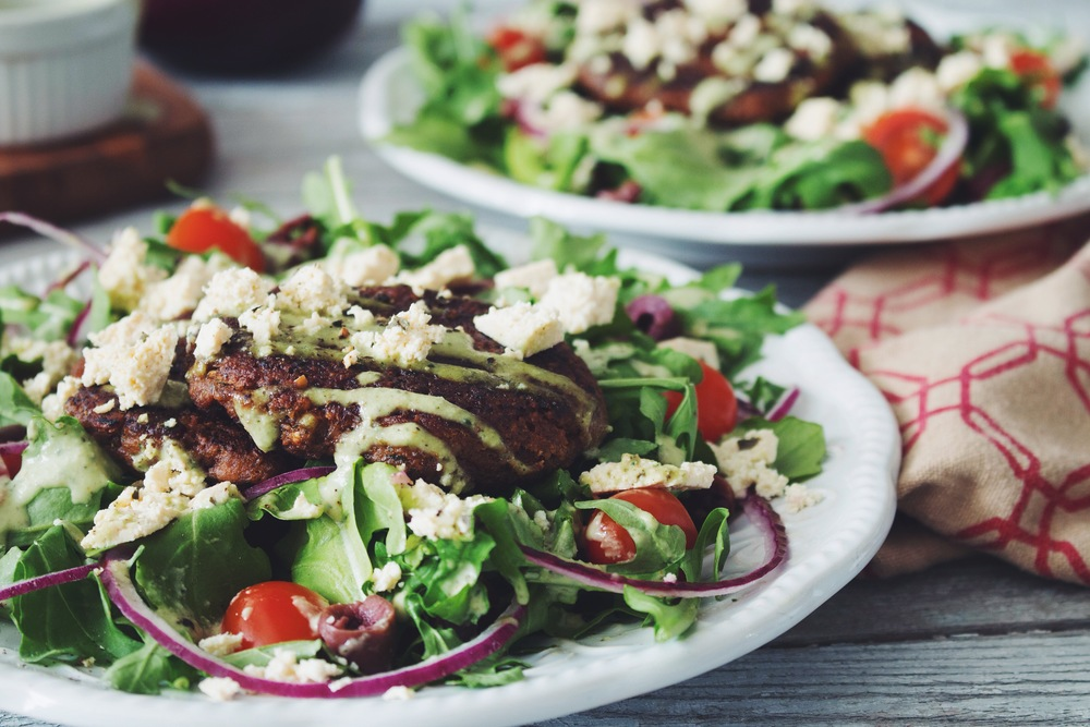 #vegan greek salad with mushroom walnut souvlaki, tofu feta, and creamy cucumber dressing | RECIPE on hotforfoodblog.com