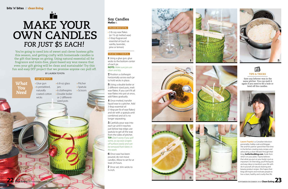 how to make your own candles in the holiday issue of Clean Eating | hotforfoodblog.com