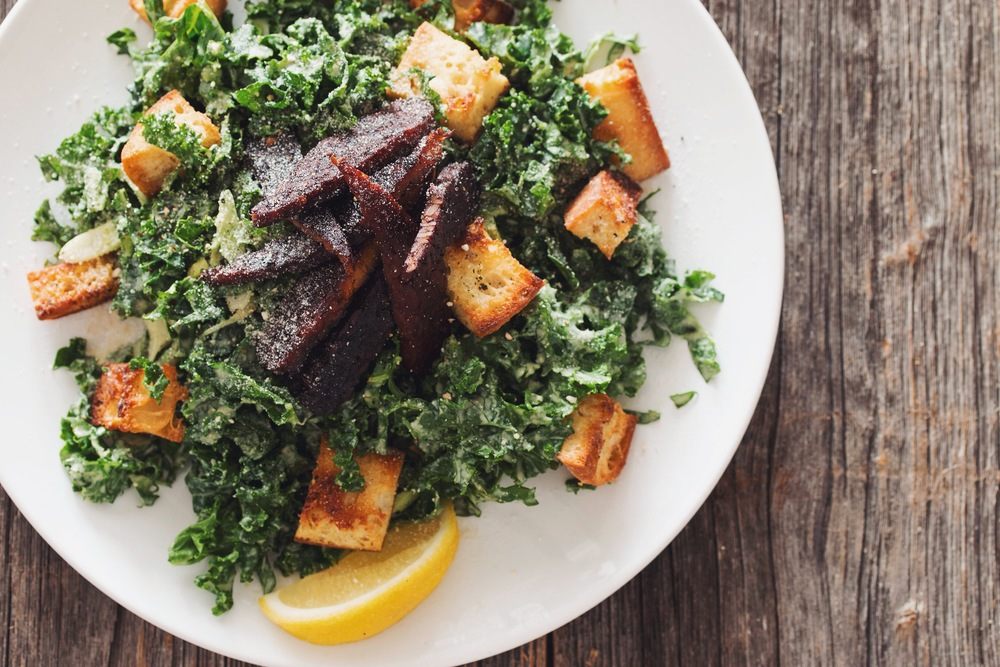 kale caesar salad with tempeh bacon | RECIPE on hotforfoodblog.com