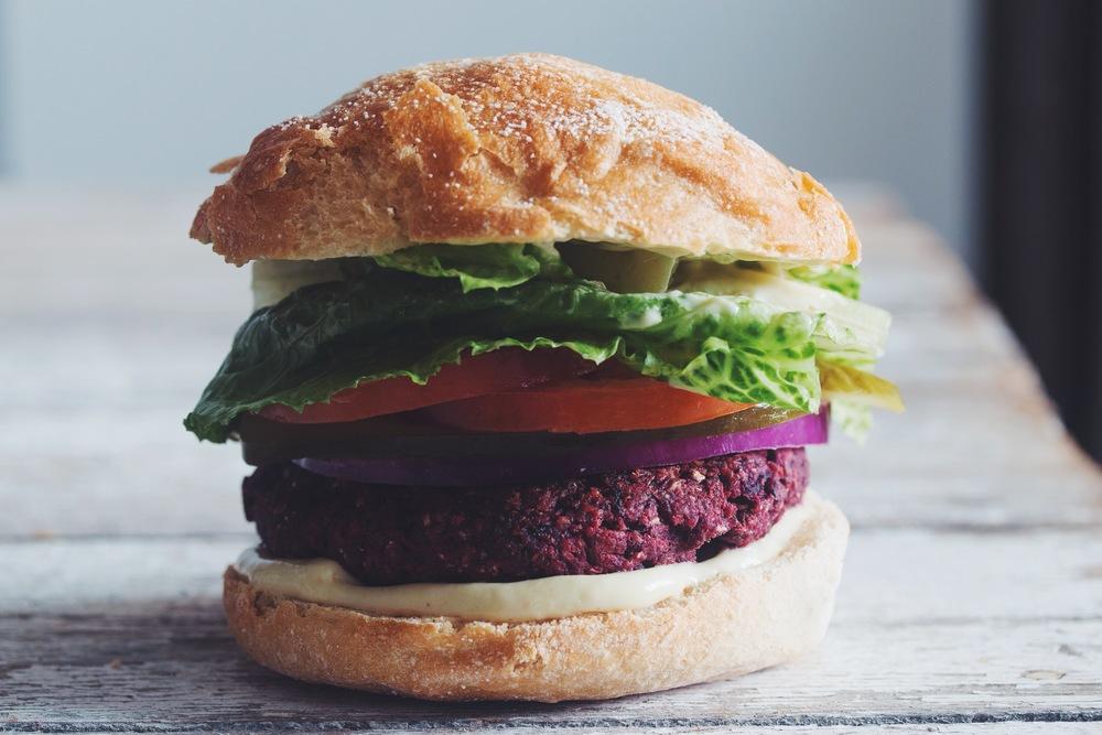 Black Bean Beet Burgershot For Food - Black hamburger