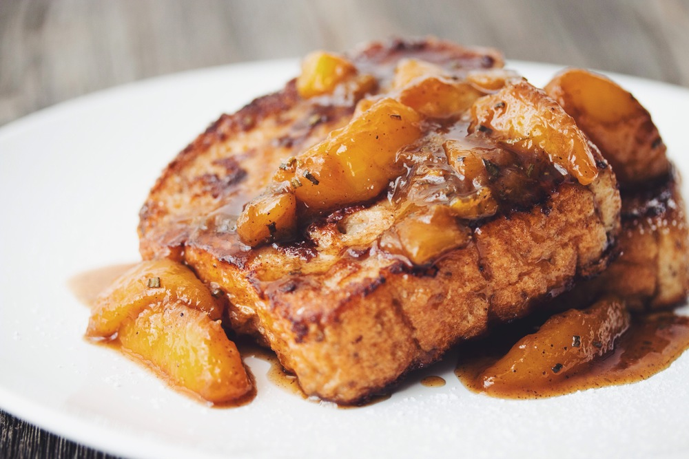 #vegan french toast with rosemary peach compote | RECIPE on hotforfoodblog.com
