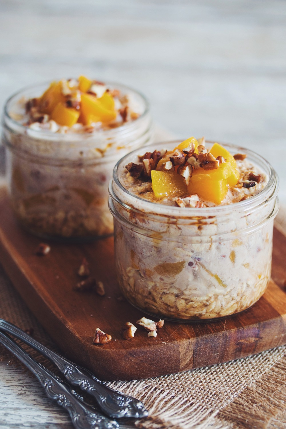 maple peach pecan overnight oats #vegan | RECIPE on hotforfoodblog.com