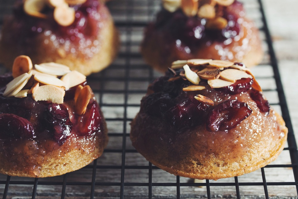 cherry vanilla almond cakes #vegan | RECIPE on hotforfoodblog.com