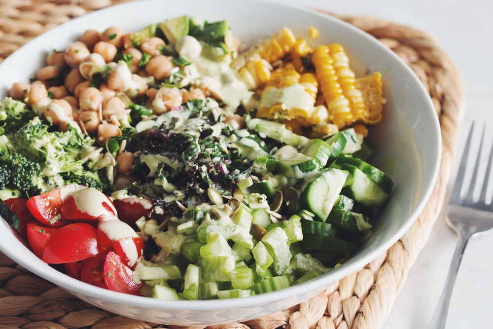 vegan chop salad with creamy herb dressing-hot for food