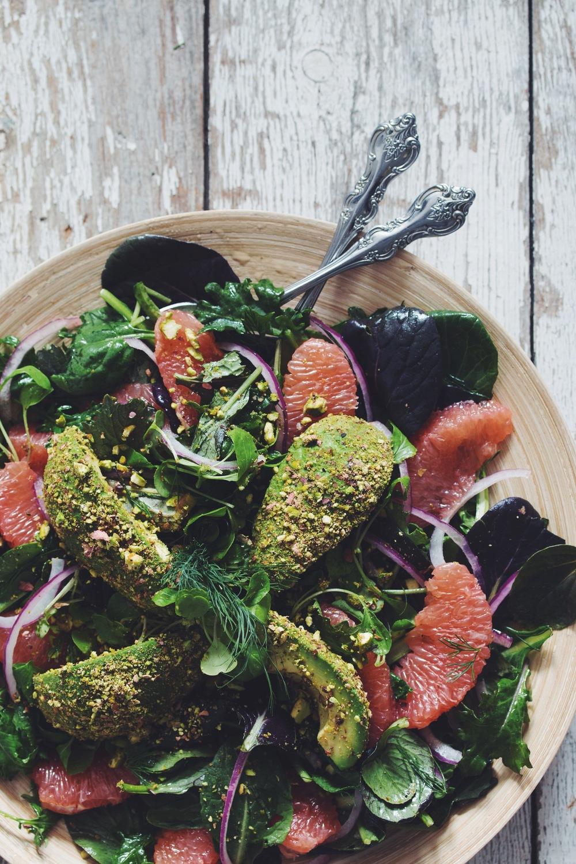 grapefruit & pistachio crusted avocado summer salad #vegan | RECIPE on hotforfoodblog.com