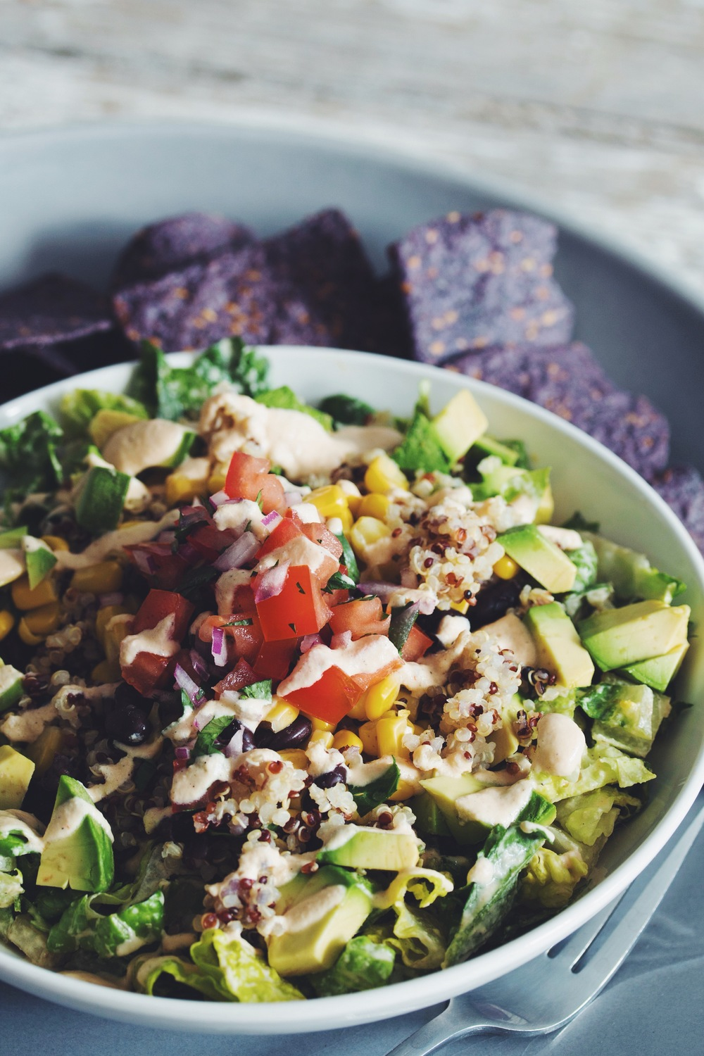 rainbow quinoa taco salad #vegan #glutenfree | RECIPE on hotforfoodblog.com