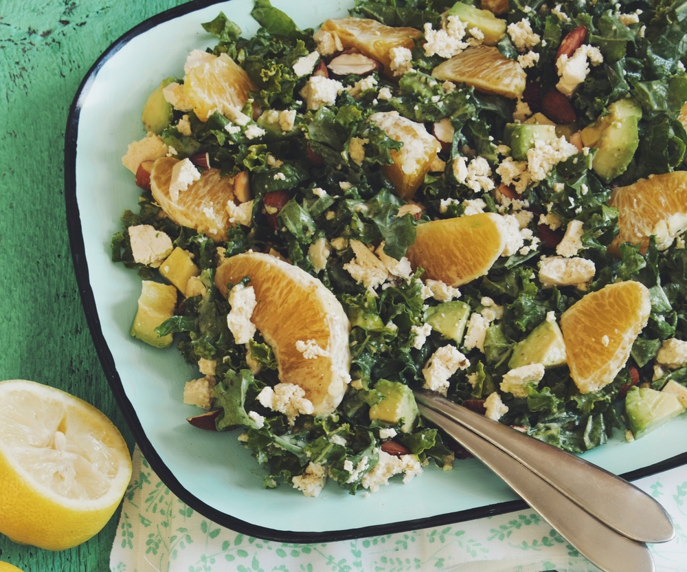 citrus, kale & avocado salad #vegan #milkcalendar | RECIPE on hotforfoodblog.com