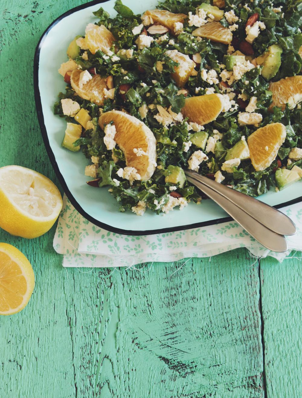 citrus, kale & avocado salad #vegan version of 2015 Milk Calendar | RECIPE on hotforfoodblog.com