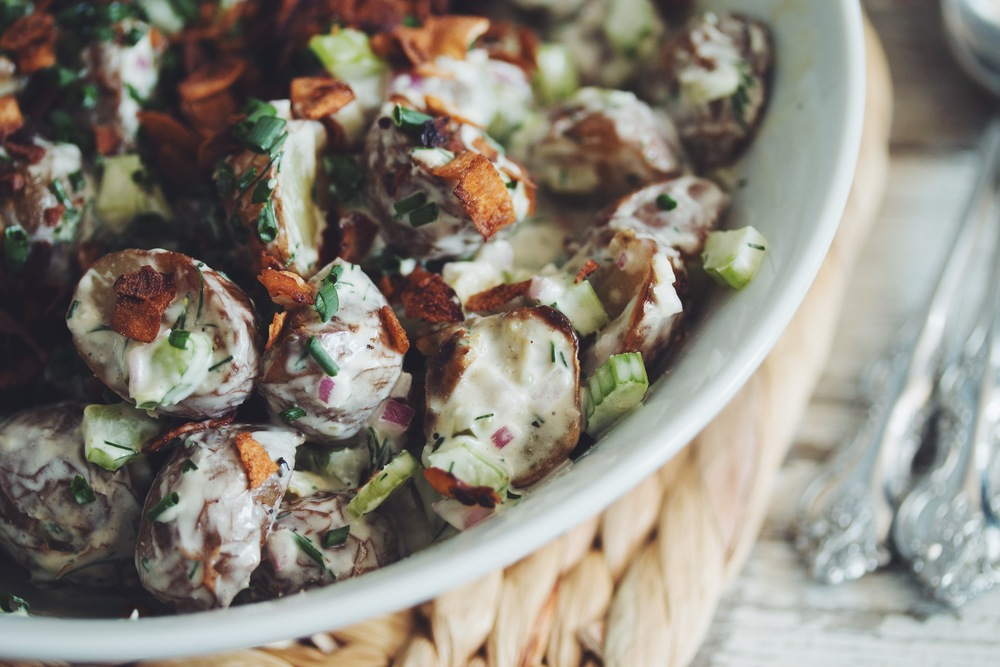 #vegan baked potato salad | RECIPE on hotforfoodblog.com