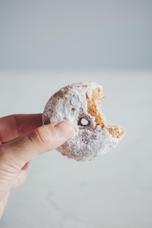 #vegan #glutenfree powdered sugar doughnuts | RECIPE on hotforfoodblog.com
