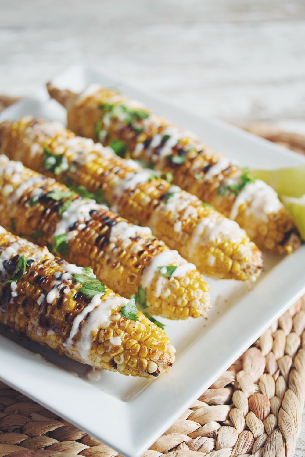 grilled corn on the cob with coconut lime cream vegan | RECIPE on hotforfoodblog.com
