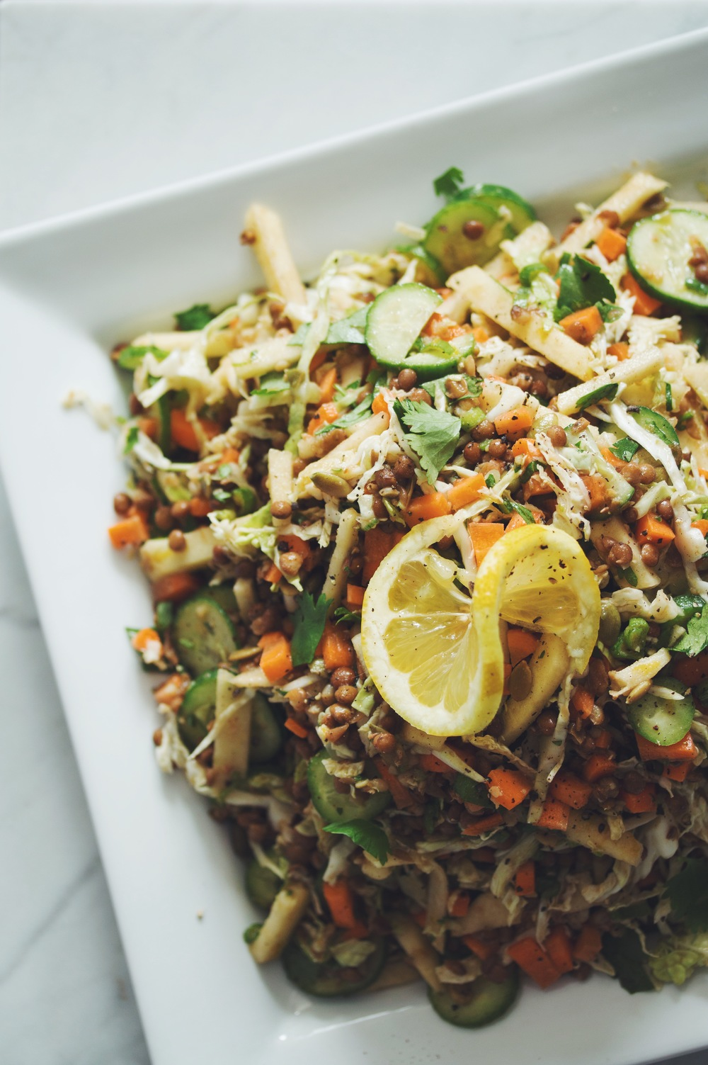 lentil apple slaw | RECIPE on hotforfoodblog.com