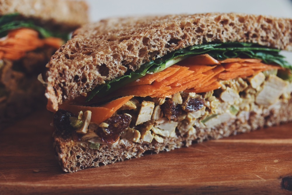 vegan curry chik'un salad sandwich | RECIPE on hotforfoodblog.com