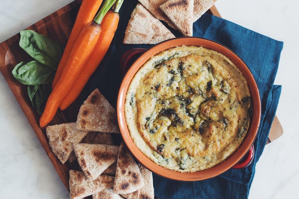 vegan spinach & artichoke dip_hot for food