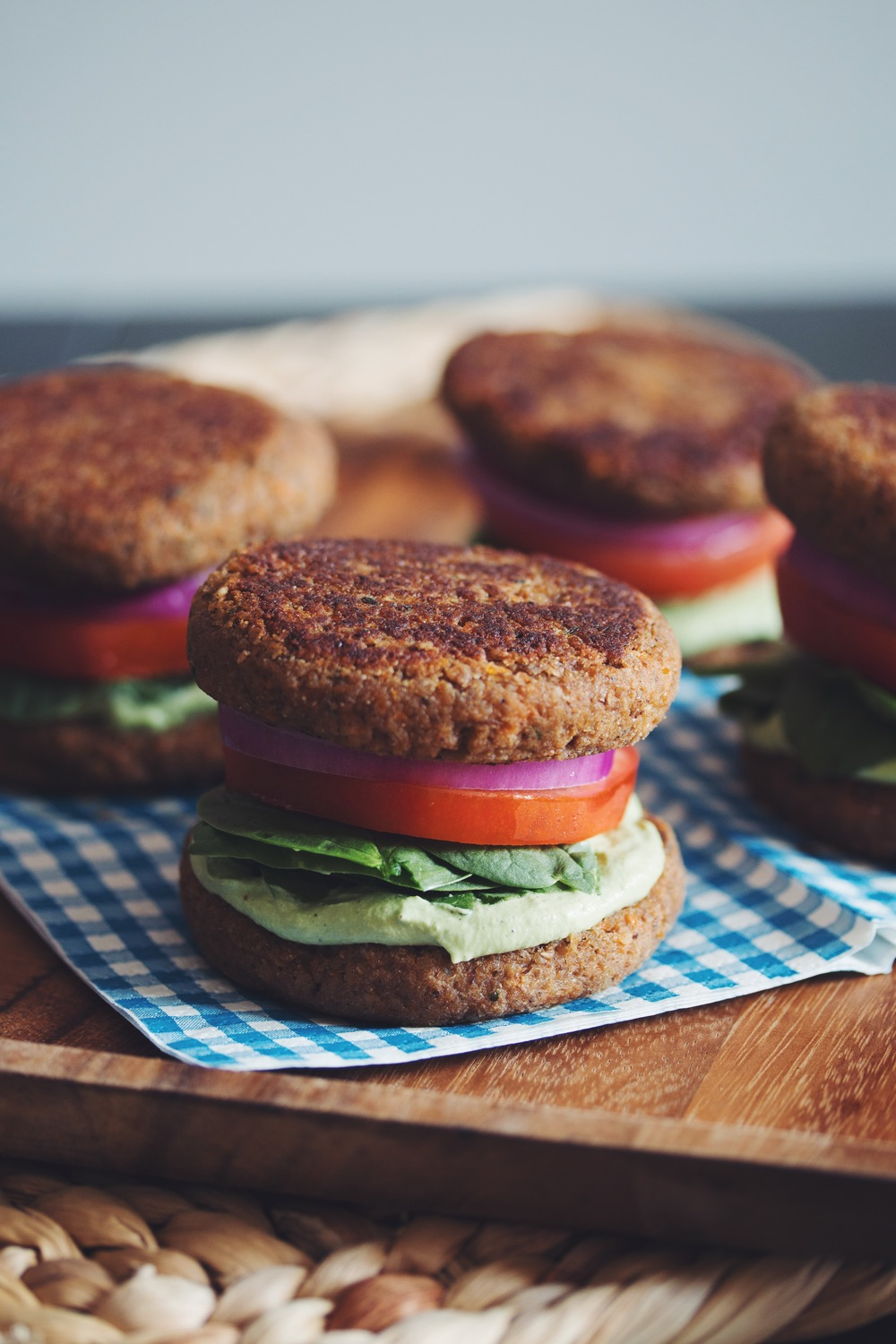 lentil walnut burger buns with creamy cashew pesto | RECIPE on hotforfoodblog.com