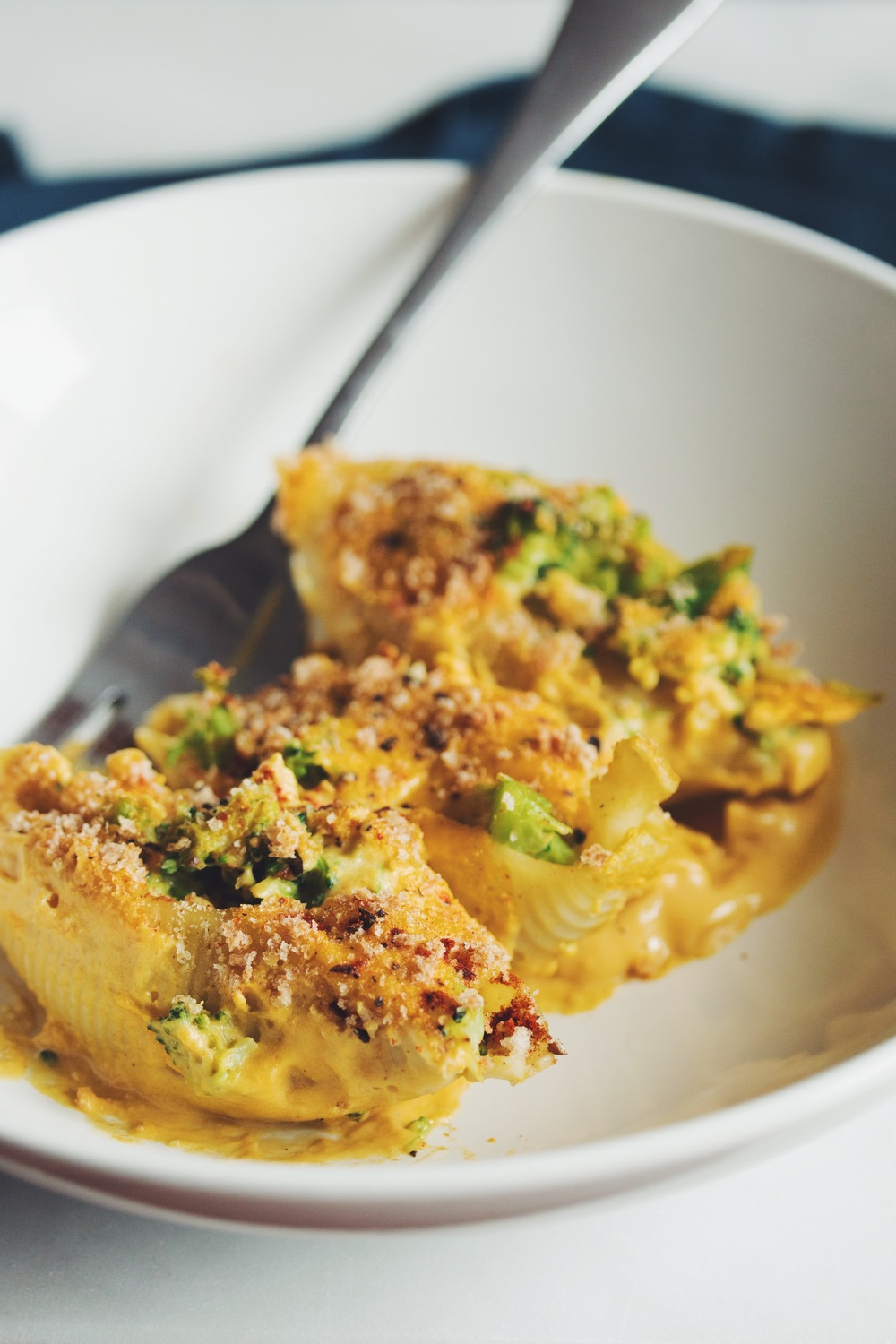 #vegan broccoli & cheese stuffed shells | RECIPE on hotforfoodblog.com