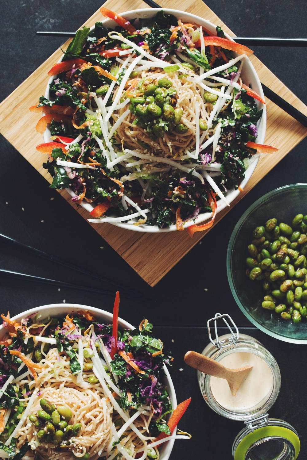 asian noodle salad with edamame & sweet ginger dressing | RECIPE on hotforfoodblog.com