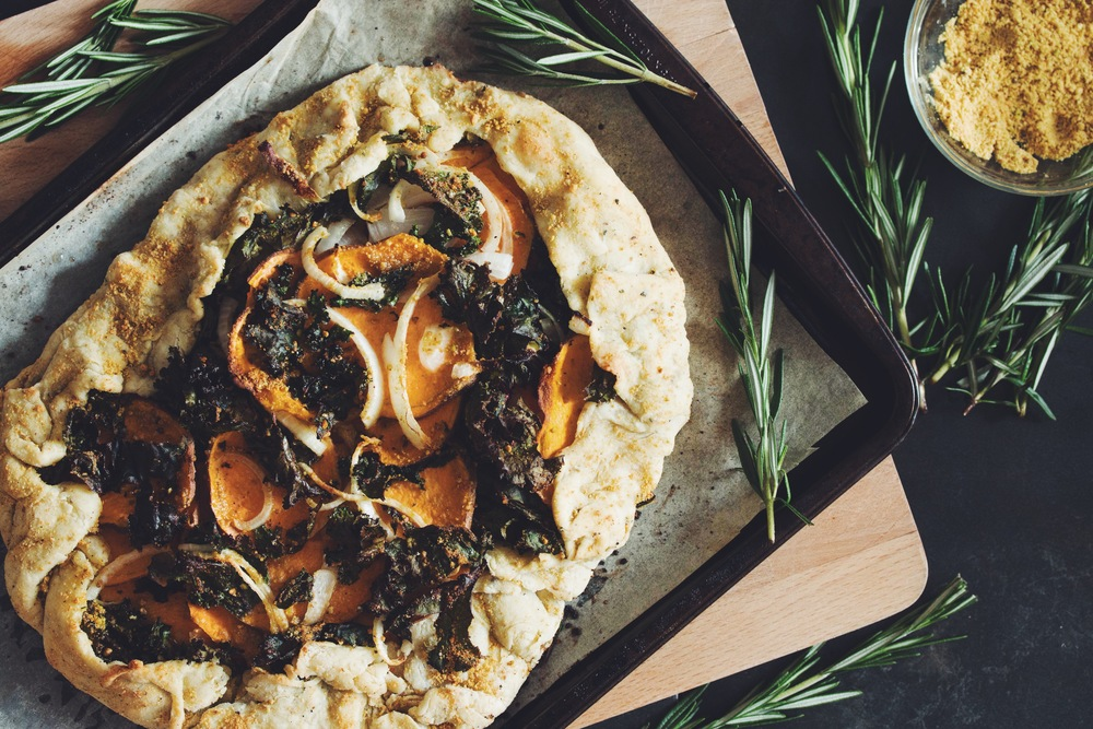vegan sweet potato & kale galette with pistachio parmesan | RECIPE on hotforfoodblog.com