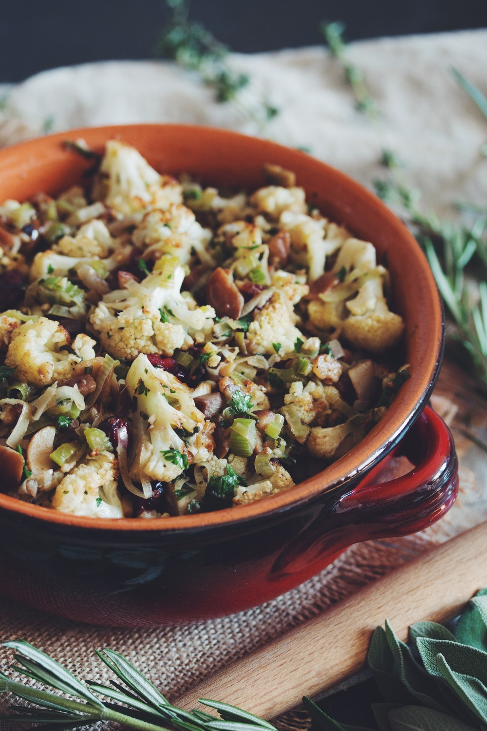 vegan glutenfree roasted cauliflower & chestnut stuffing | RECIPE on hotforfoodblog.com