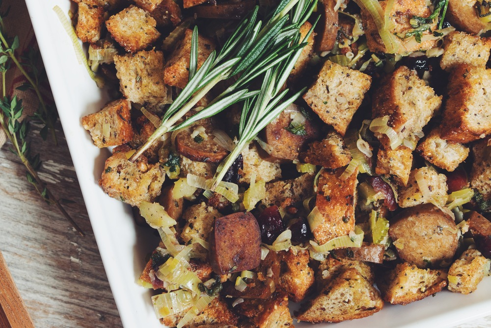 vegan sausage and bread stuffing | RECIPE on hotforfoodblog.com