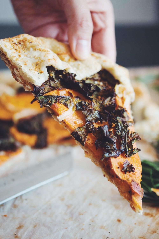 vegan sweet potato & kale galette with pistachio parmesan | RECIPE on hotforfoodblog.com