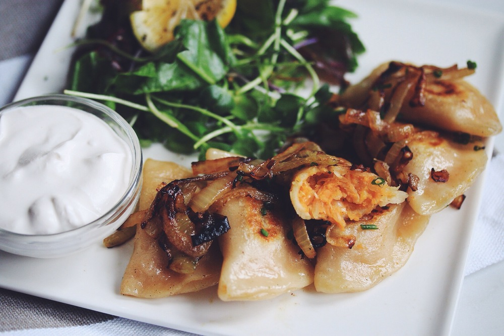 vegan sweet potato & sauerkraut pierogies | RECIPE on hotforfoodblog.com