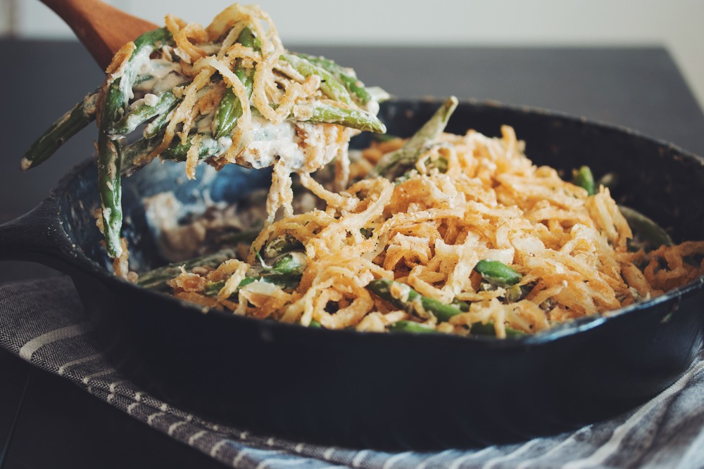 vegan gluten-free green bean casserole — hot for food