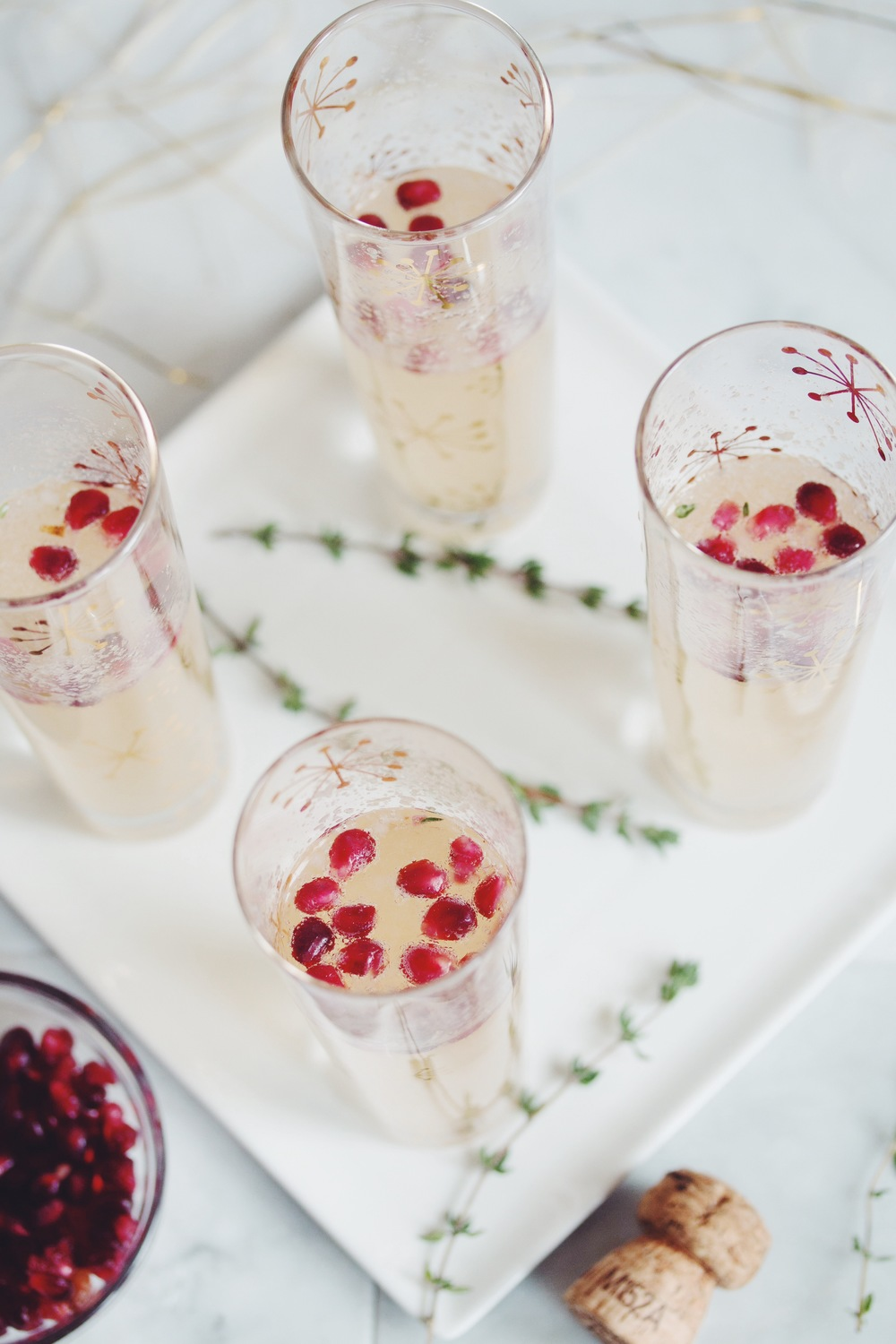 pear & pomegranate champagne cocktail | RECIPE by hot for food