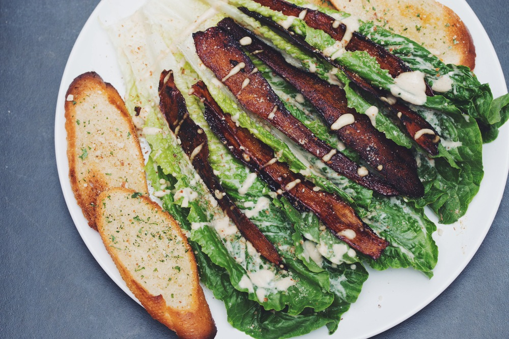 vegan cassava bacon caesar salad | RECIPE by hot for food