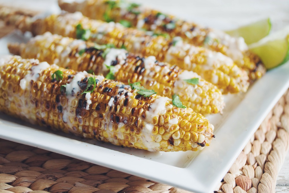 Grilled Corn On The Cob With Coconut Lime Cream Hot For Food