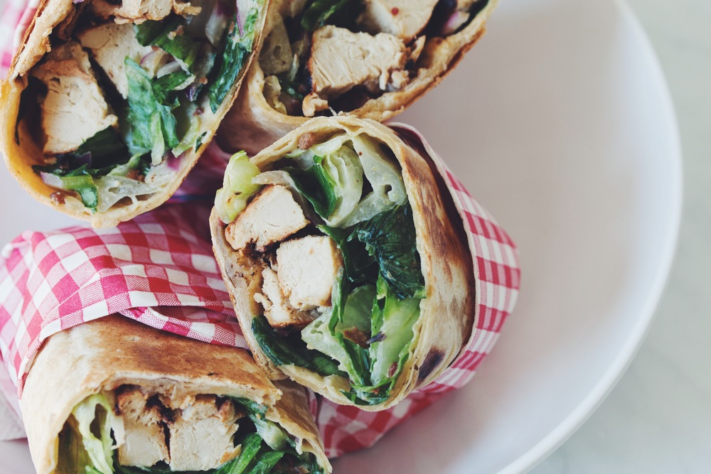 vegan chicken caesar wraps | RECIPE on hotforfoodblog.com