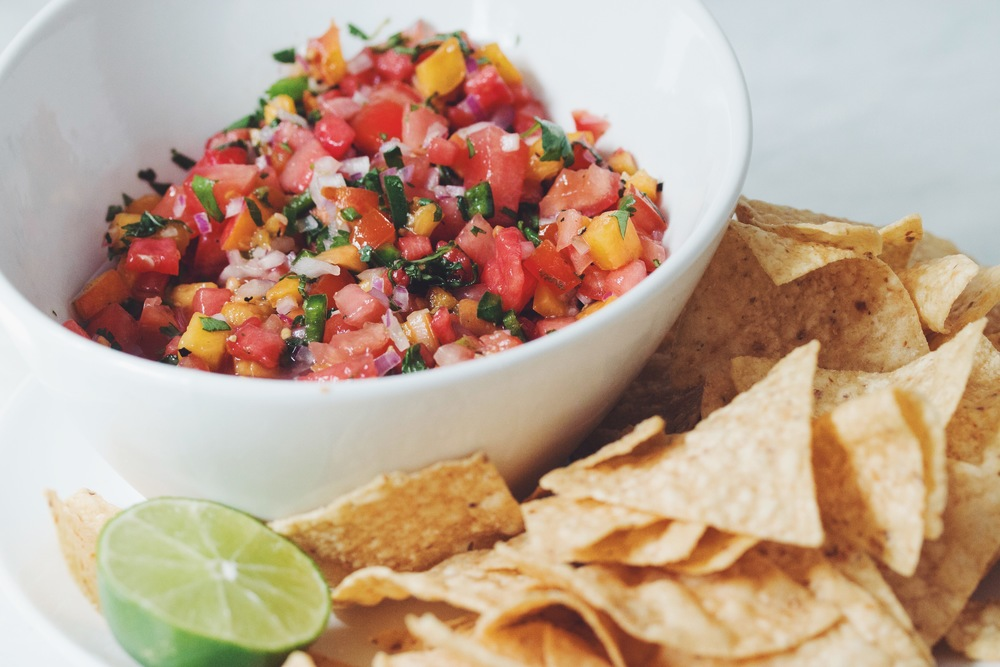 watermelon peach salsa | RECIPE on hotforfoodblog.com