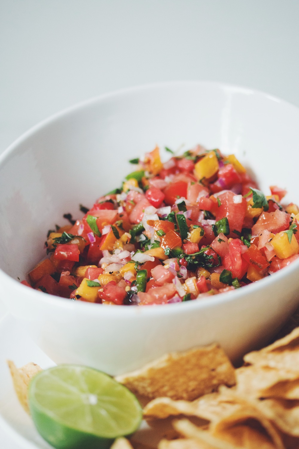 watermelon peach salsa (VEGAN) | RECIPE on hotforfoodblog.com