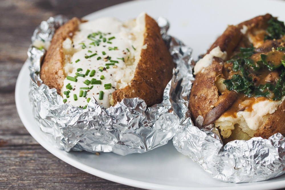 vegan baked potatoes 2 ways | RECIPE on hotforfoodblog.com