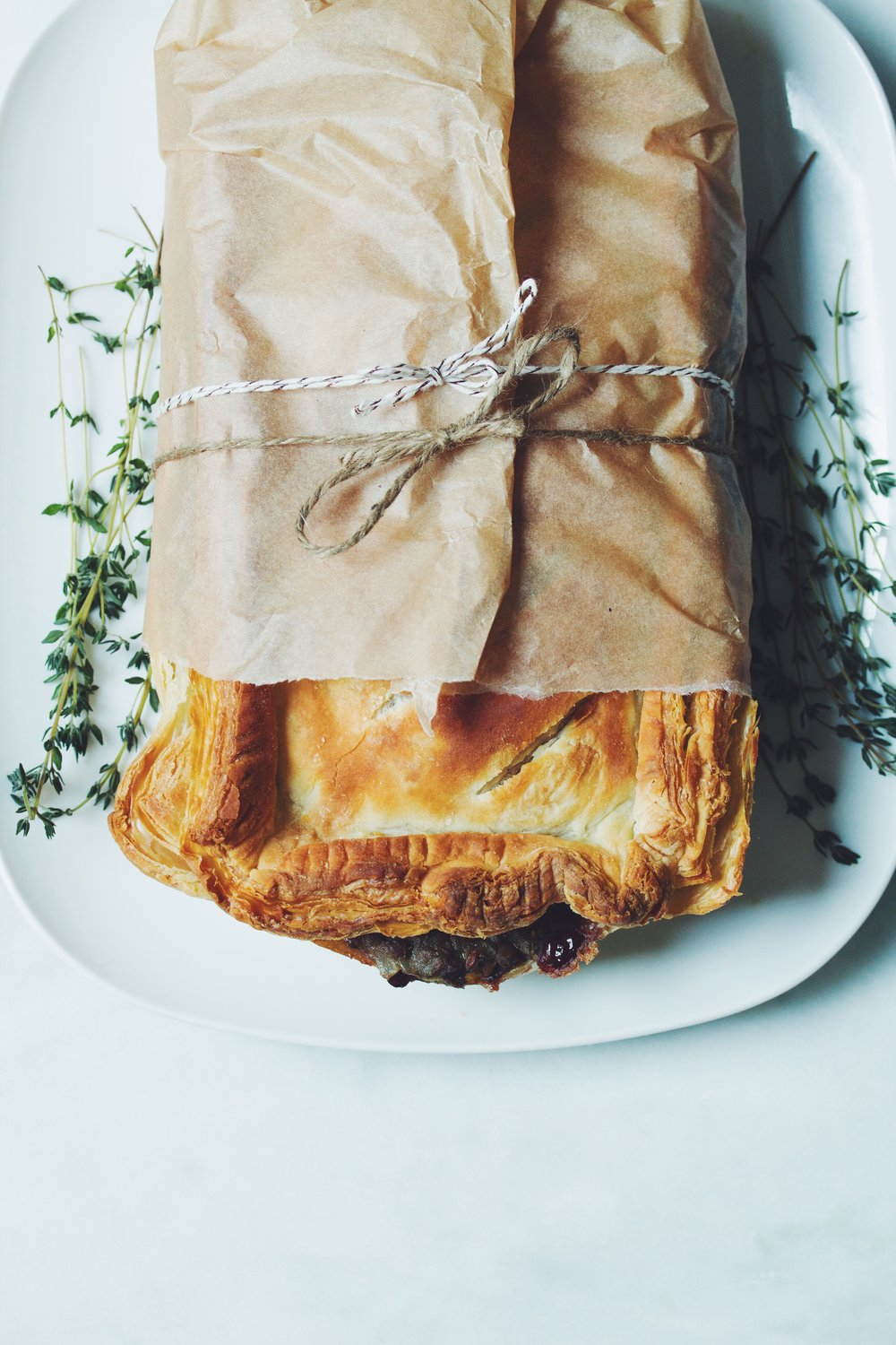 vegan thanksgiving puff pastry roast | RECIPE on hotforfoodblog.com