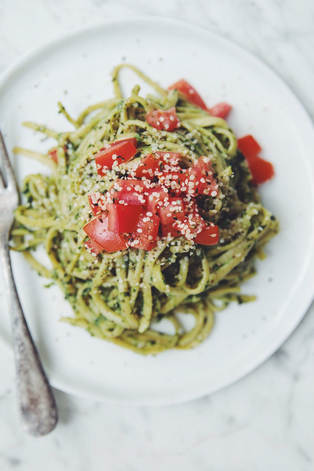 avocado pesto pasta | RECIPE on hotforfoodblog.com