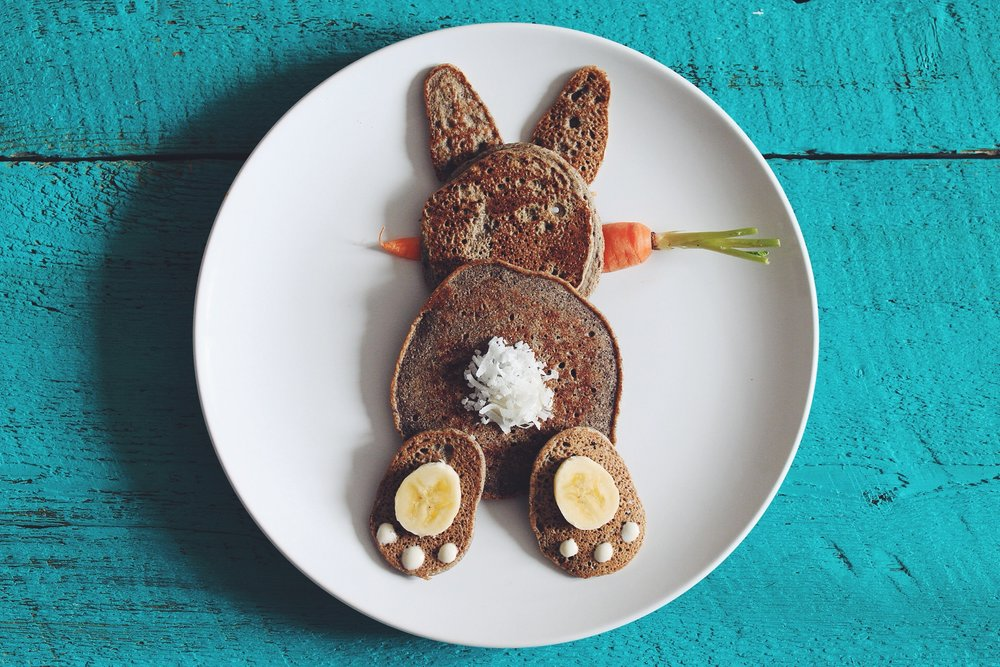 just make any of our pancake recipes and plate them like a cute lil' easter bunny bottom!