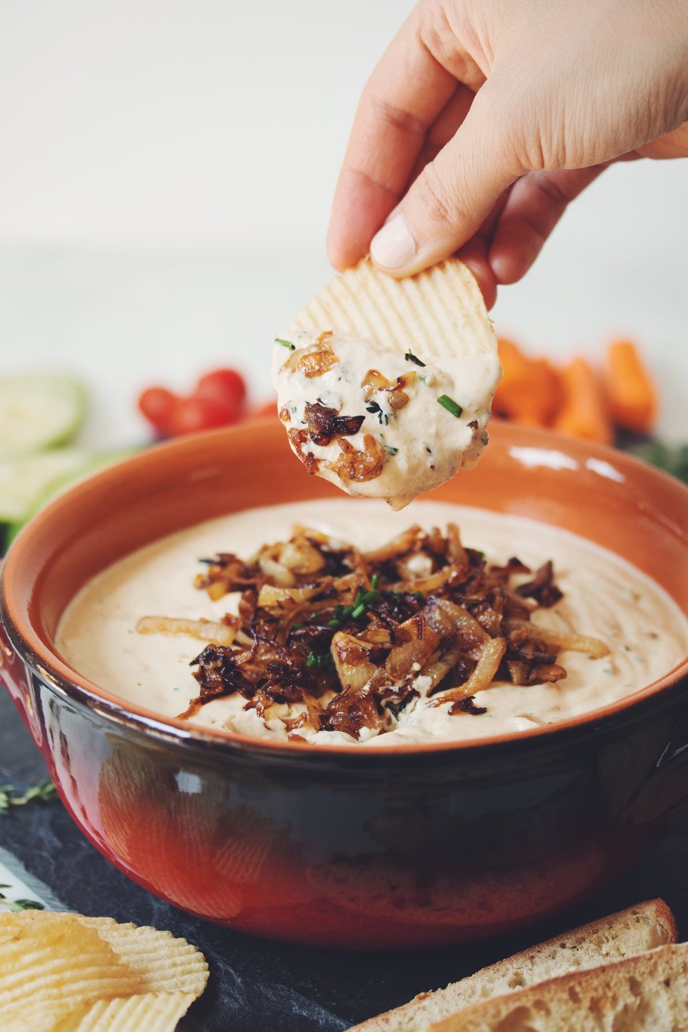 caramelized onion dip (VEGAN) | RECIPE by hot for food
