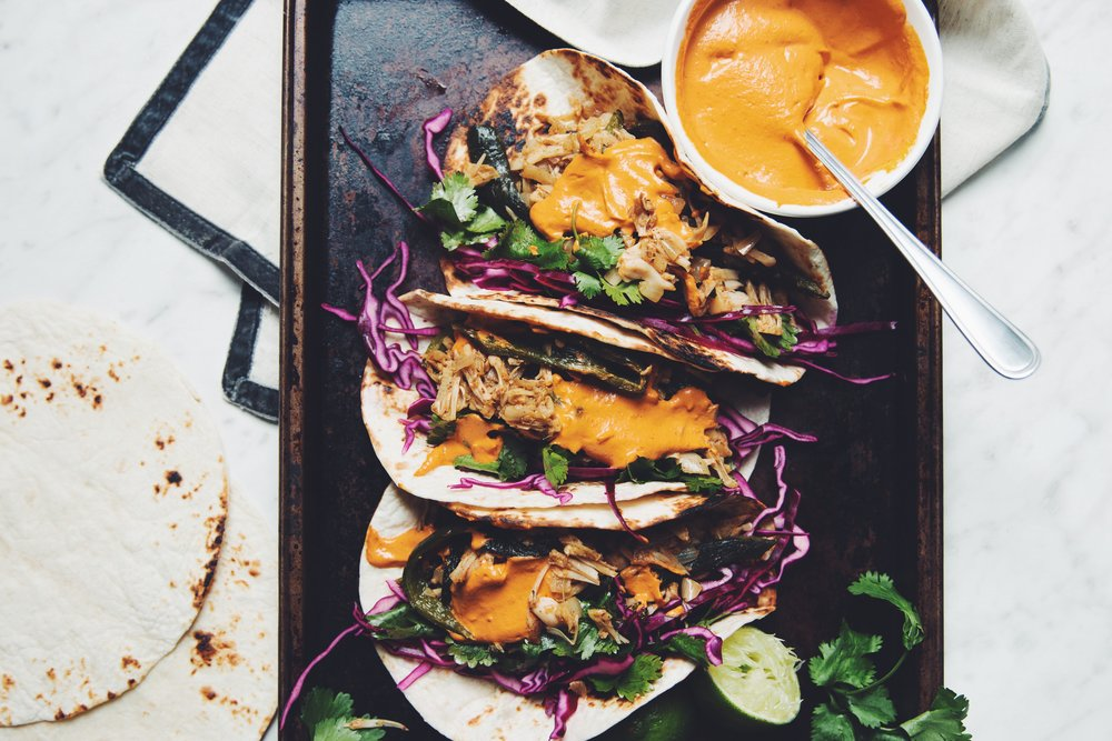roasted poblano & jackfruit tacos with adobo cream sauce | RECIPE on hotforfoodblog.com
